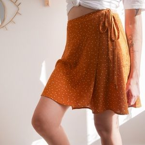 NWT From Rachel Light Orange with Dots Wrap Skirt